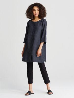 Bateau Neck Shirtdress In Organic Washed Linen Delave S6lol D3622 Shirt Dress Washed Linen Bateau Neck