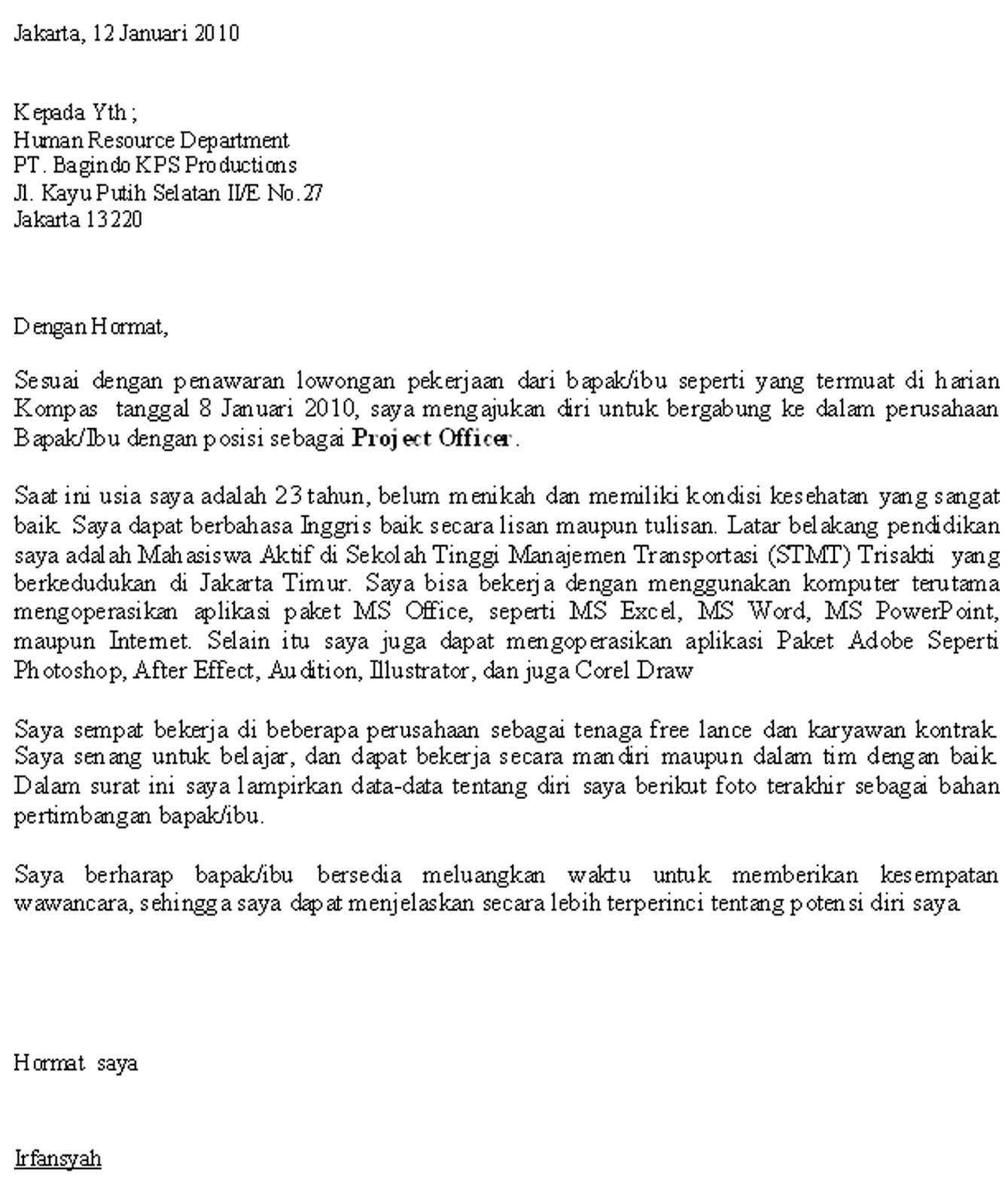 Contoh surat lamaran kerja via email dalam bahasa inggris