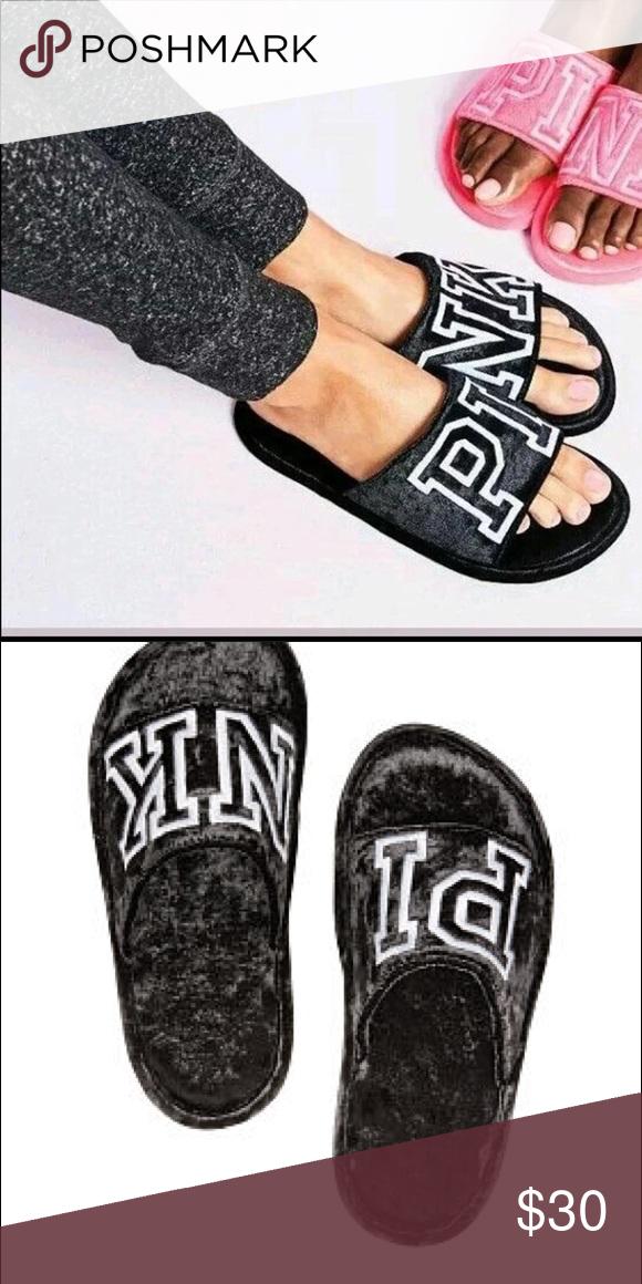 c4eaf00a73a3d PINK velvet slippers New PINK Victoria's Secret velvet slippers in ...