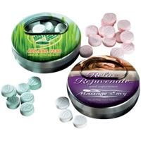 Twister Mint Tin    Twisting Mint Tin. Filled with Super-mints. Mints available in flavors of Peppermint, Spearmint, Wintergreen, and Cinnamon.