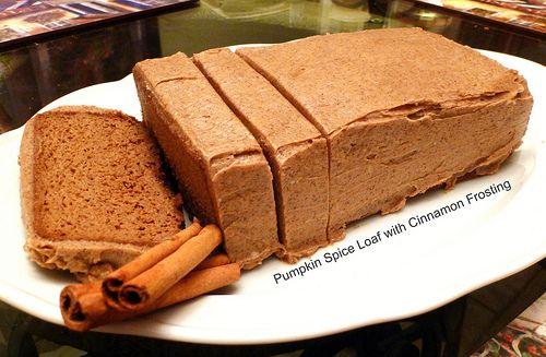 Pumpkin Spice Loaf with CinnamonFrosting.