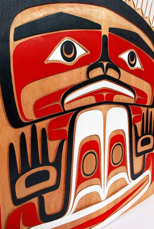 Time Traveller by Dean Hunt, red cedar panel, Northwest Coast Native Art