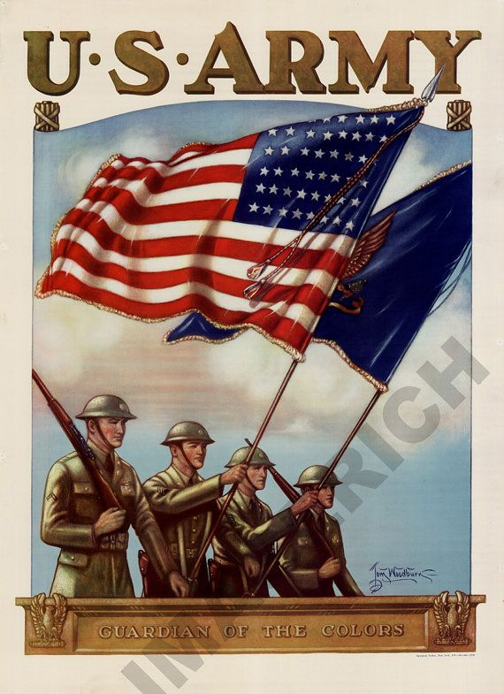 US Army Guardian of the Colors https://www.etsy.com/listing/85877945/world-war-ii-poster-us-army-guardian-of?ref=shop_home_active #vintageMilitaryArt