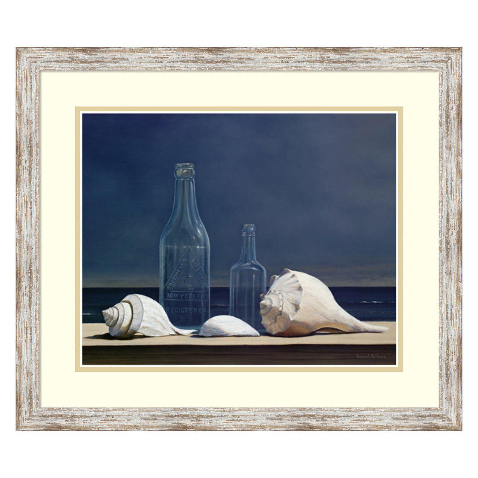 Amanti art seaglass and shells framed print by daniel