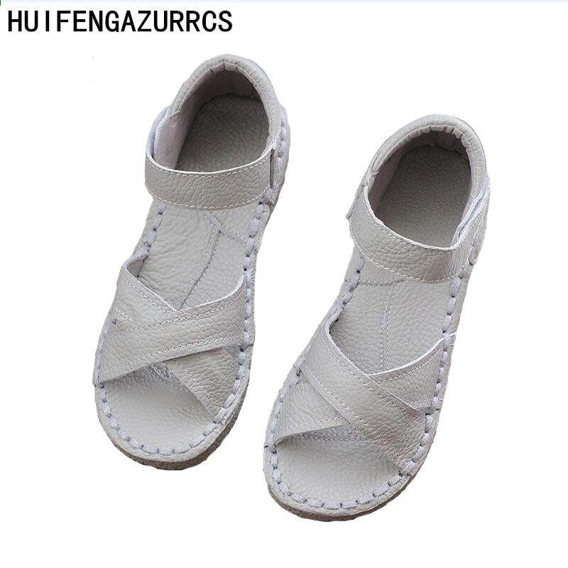 Nowy 2016 Oryginalne Sandaly Ze Skory Czyste Recznie Biale Buty Retro Sztuki Mori Girl Mieszkan Fashion Shoes Flats Genuine Leather Sandals Girl Flats Shoes