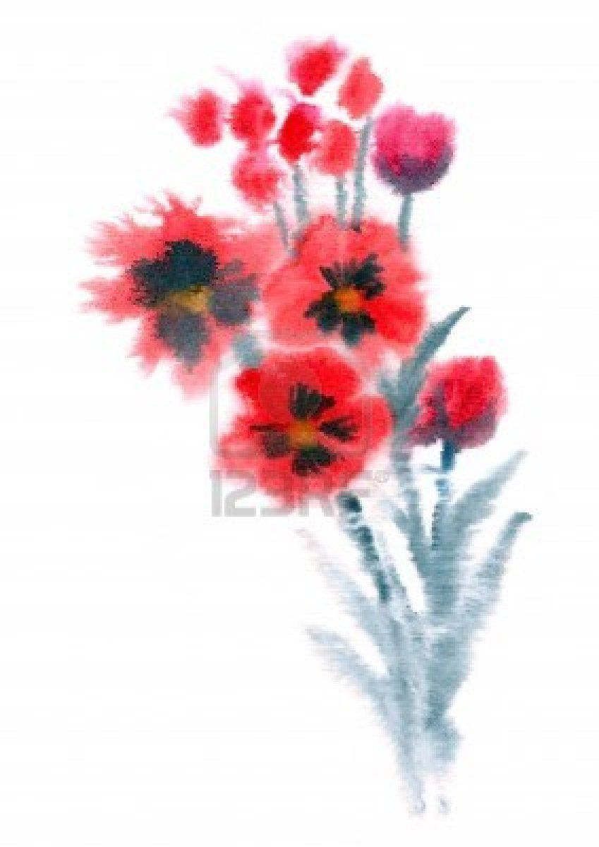 Red Flowers painted in watercolor isolated on white | Pinterest ...