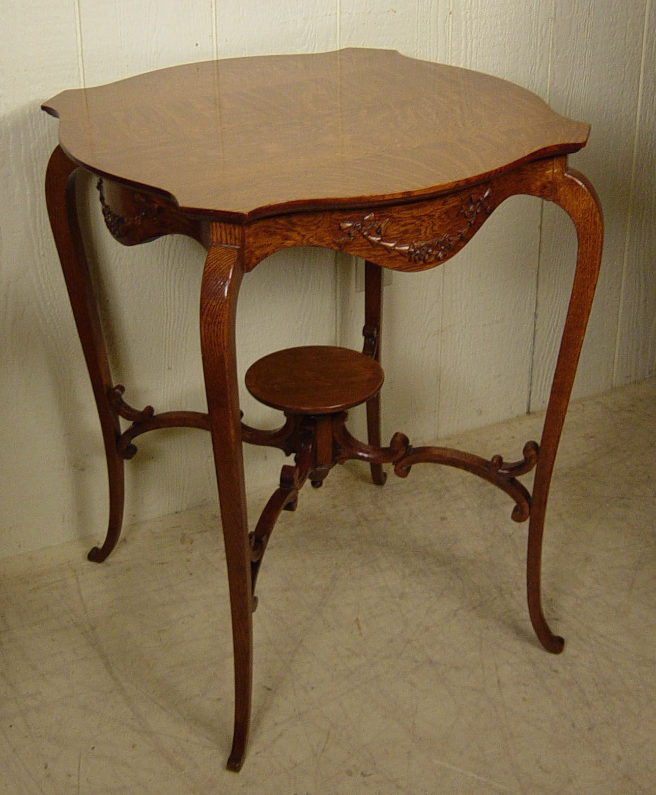 Oak Shaped Lamp Table With Unusual Round Lower Shelf Stock 300