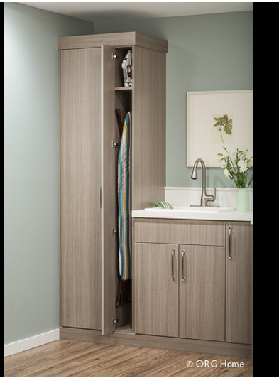 Narrow Cabinet For Ironing Board And Shelf Overhead For Iron. Cabinet Could  Be Divided And Also Store Drying Rack.