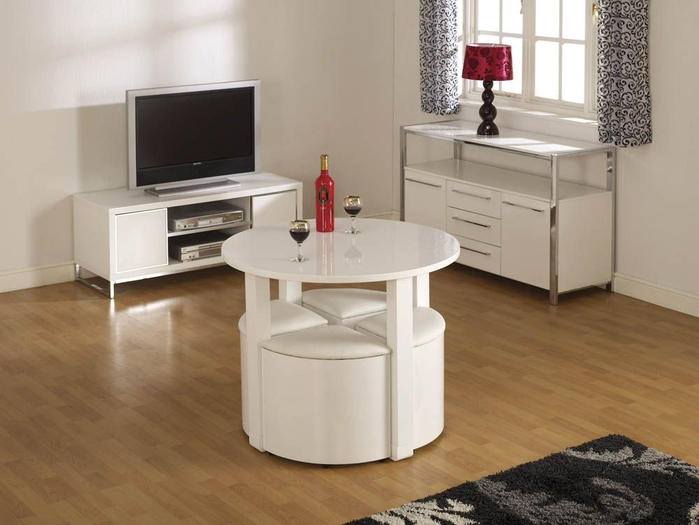 D313 Modern Dining Room Set In White Lacquer Finish: Charisma White High Gloss Stowaway Dining Set