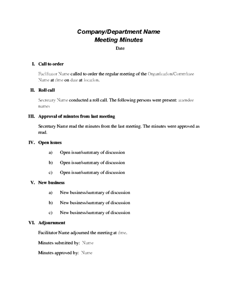 Use These Minutes To Record Formal Meetings Conducted According To Robert S Rules Of Order Minutes Incl Meeting Agenda Template Meeting Agenda Agenda Template