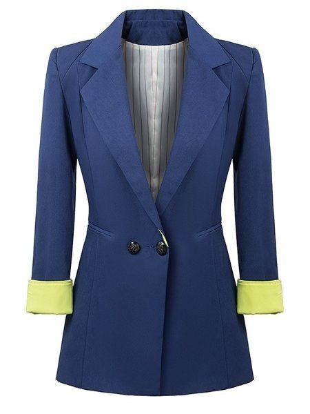 Color Block Concise Breasted Lapel Blazers #ClothingOnline #PlusSizeWomensClothing #CheapClothing #FashionClothing #womenswear #sexydress #womensdress #womenfashioncasual #womensfashionforwork  #fashion #womensfashionwinter