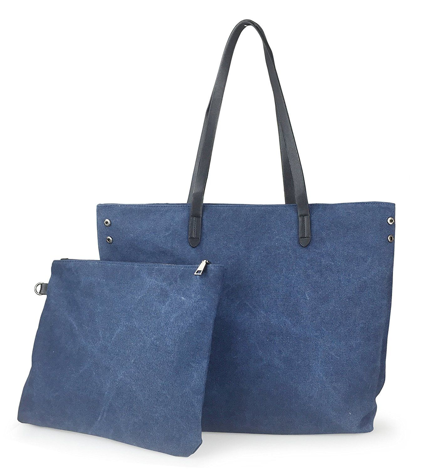 Hoxis Soild Color Minimalist Canvas 2 in 1 Tote Womens Shoulder Handbag ** Visit the image link more details.