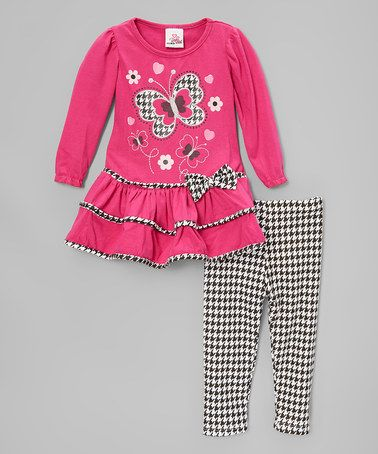 Loving this Pink Butterfly Ruffle Top & White Houndstooth Leggings - Toddler on #zulily! #zulilyfinds