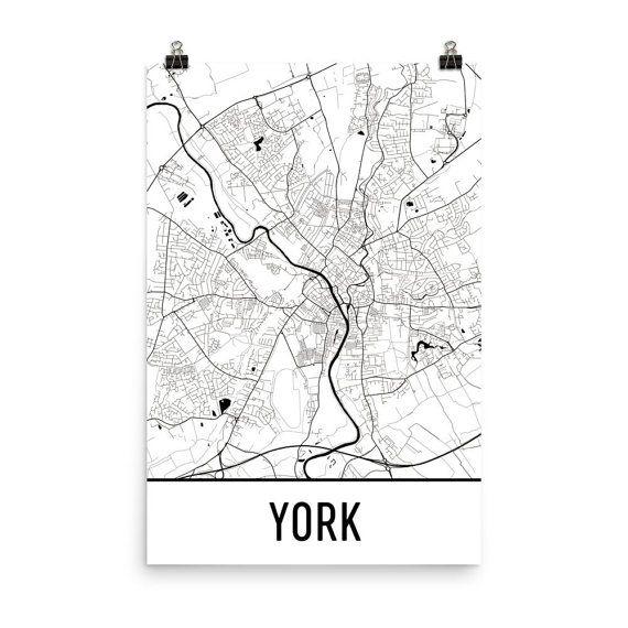 York Map York England Art York Print York UK Poster York Wall