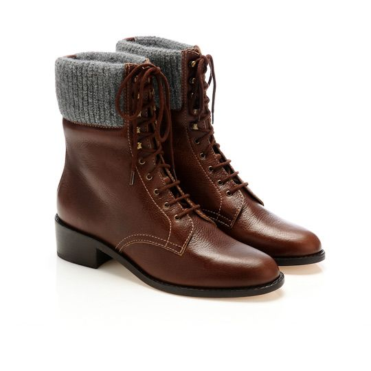"Loeffler Randall Fritzy Knit Trim Combat Boot. Fell madly in love with these at Gimme Shoes. Wish I never tried them on. File these under """"Things I'm Waiting For to Go On Sale But Probably Still can't Afford"". $495.00"