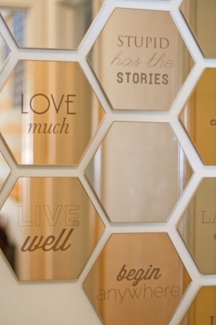 I visited this site for its chicken wire ideas and found LOTS more. Yep, I'm following Allie from here on in. Her honeycomb design with mirrors is both affordable, eye-catching, and fresh!