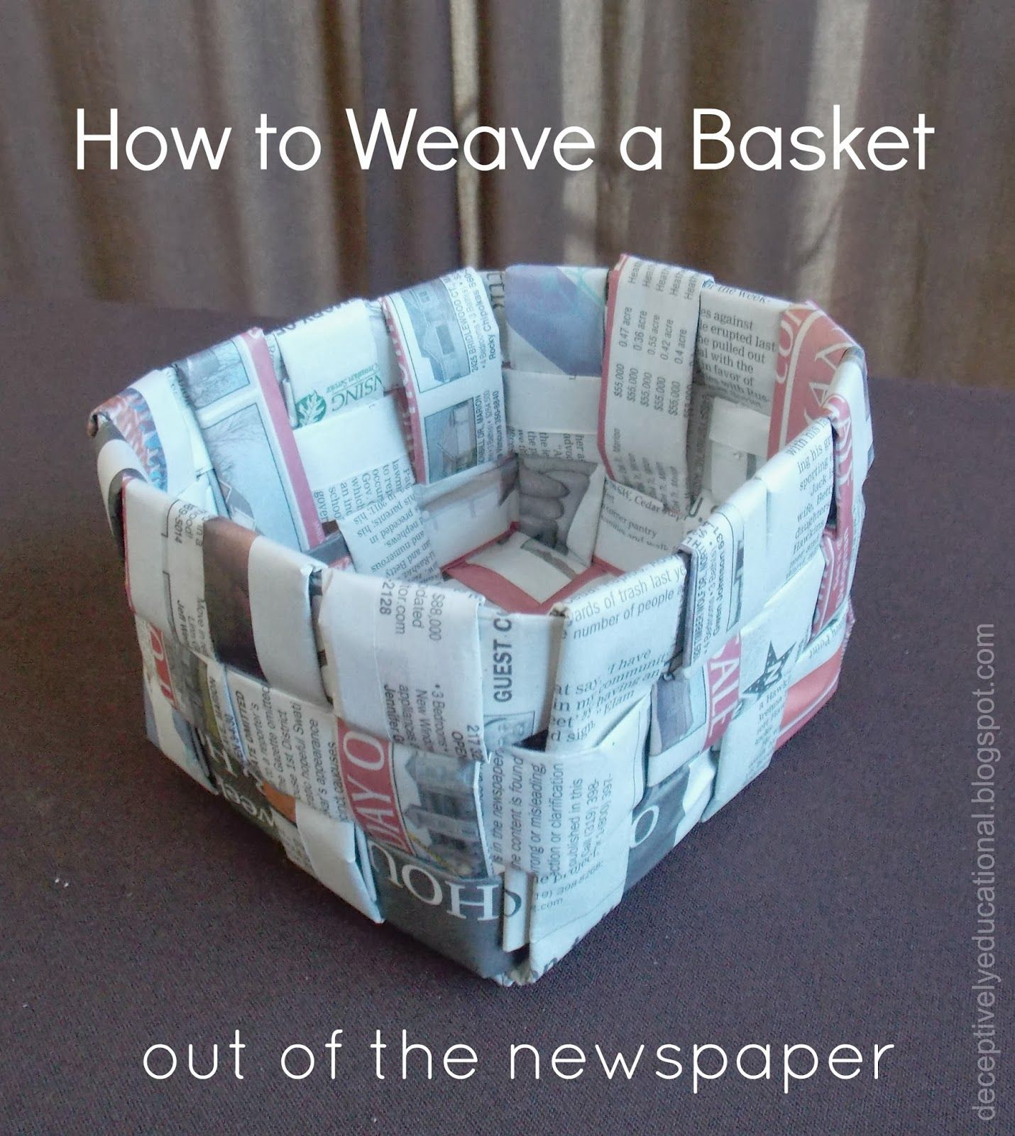 Basket Weaving Using Newspaper : How to weave a basket out of the newspaper
