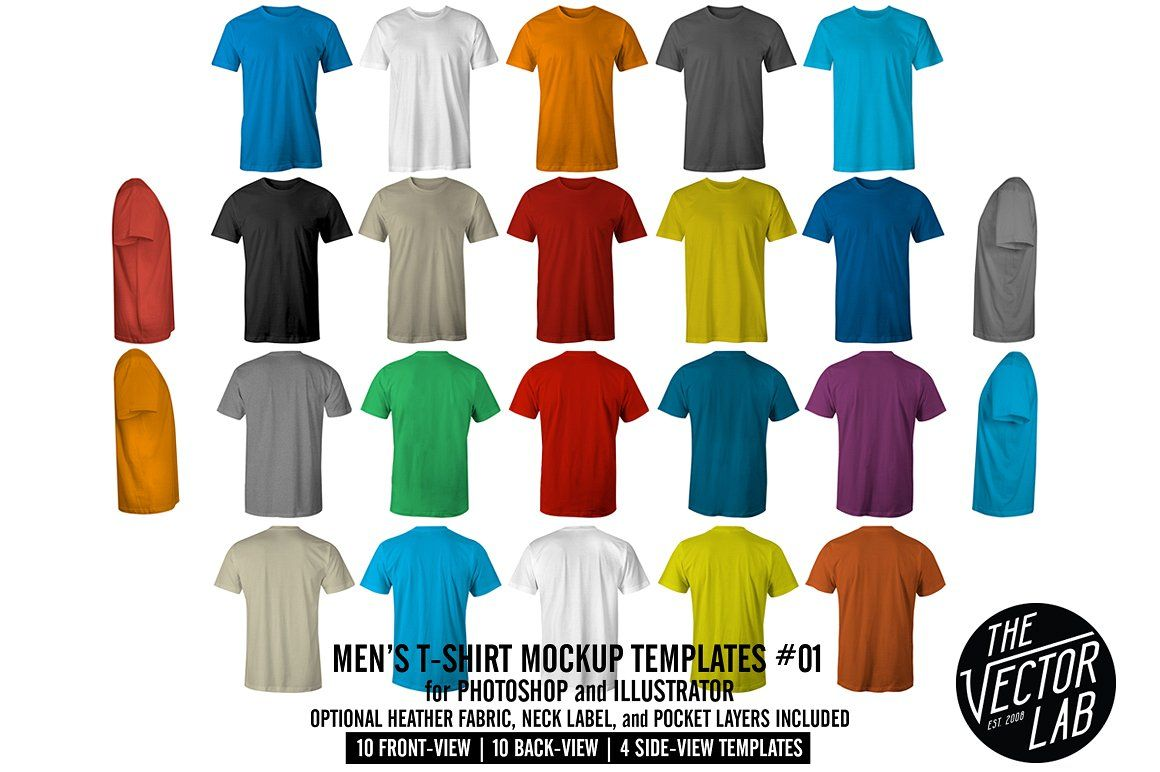 Men's TShirt Templates Version 5.0 Clothing mockup