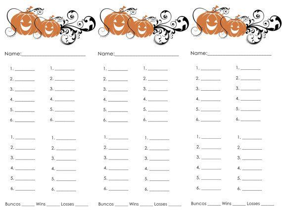 Halloween Bunco scoresheets
