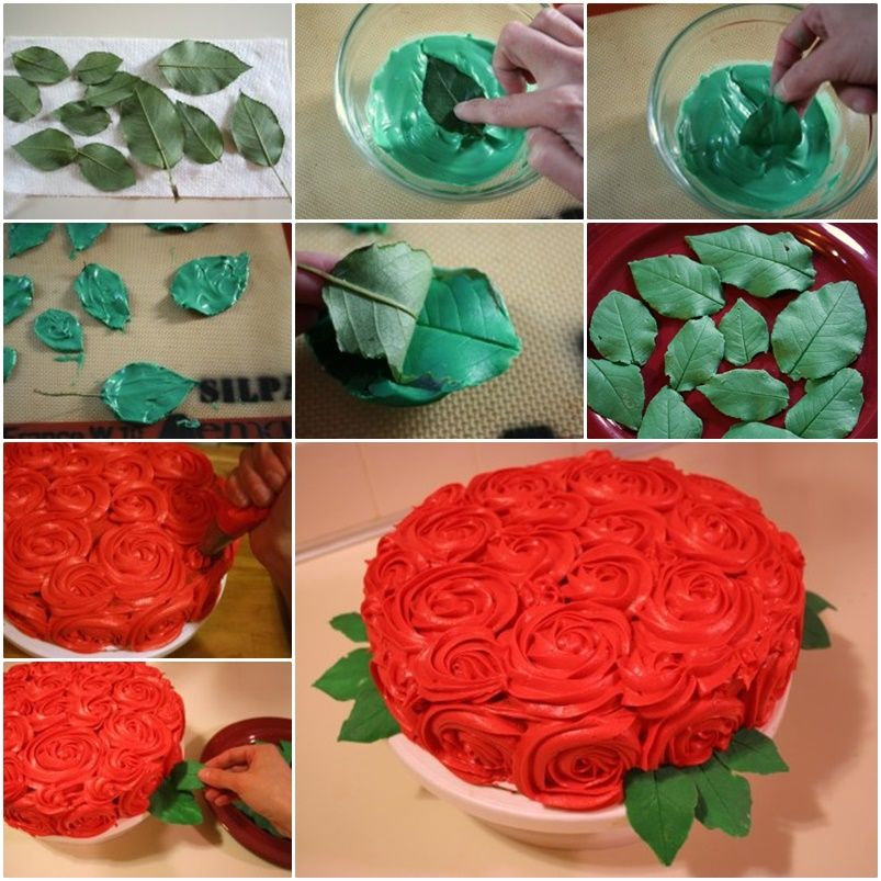DIY Leaf for Rose Cake Decoration Rose cake Rose and Cake