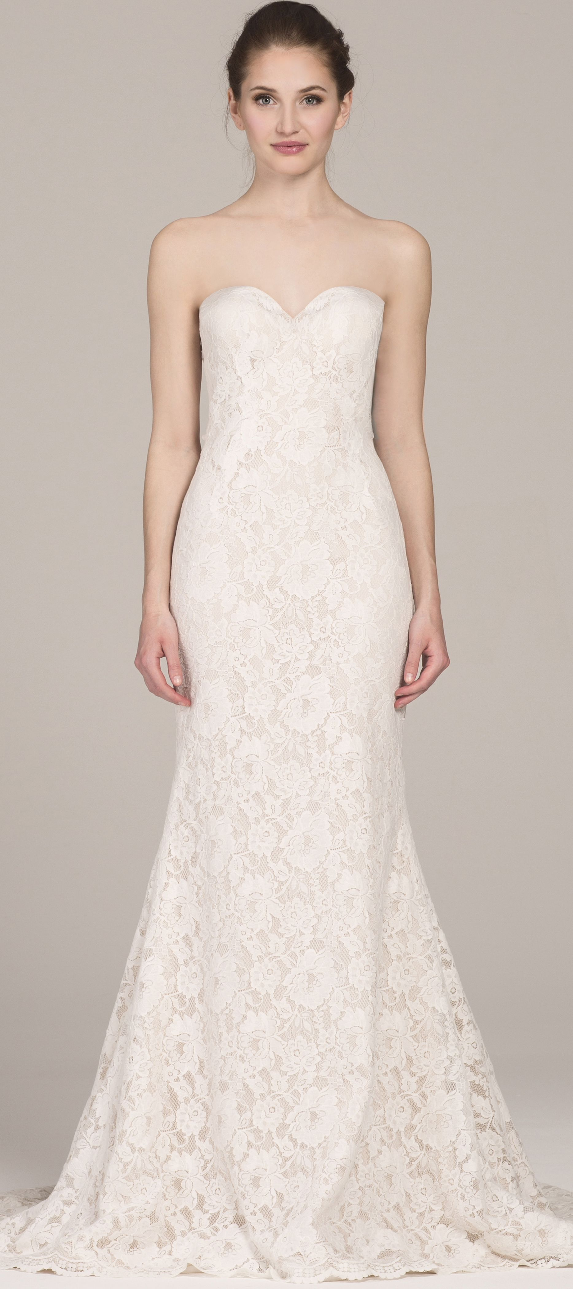 The mariana gown strapless lace wedding dress with cutout open