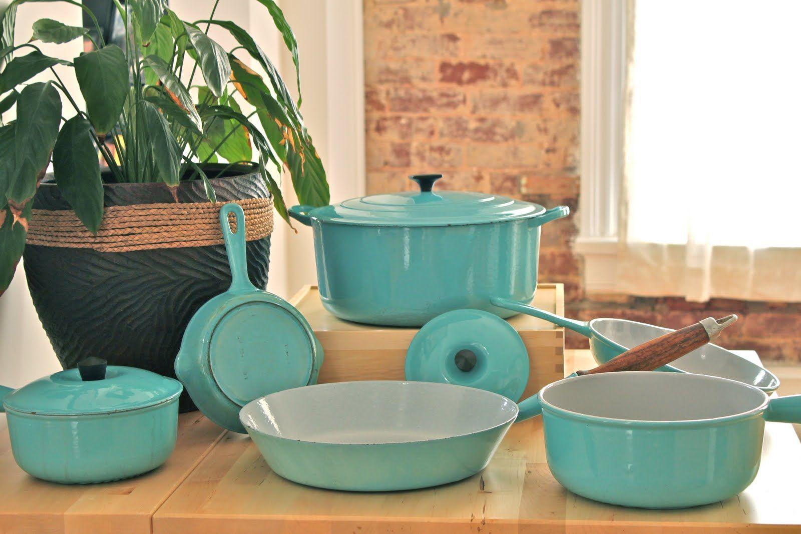 Vintage Le Creuset Kitchenware In Paris Blue