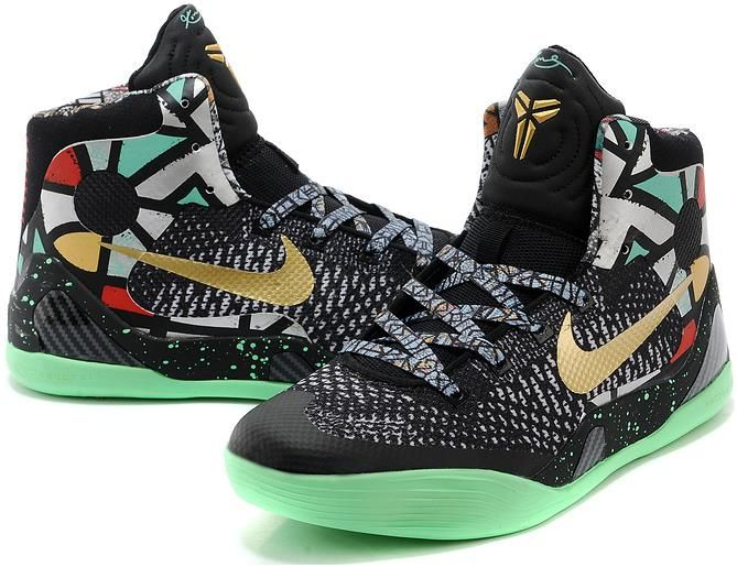 59a2ac75789c Kobe 9 Shoes For Women Black Gold Green Red2