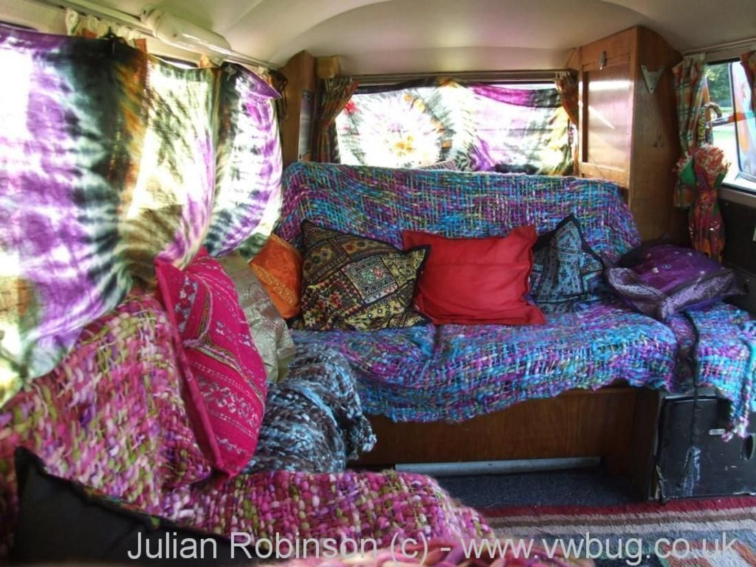 Blankets And Tie Dye Curtains With Images Van Interior