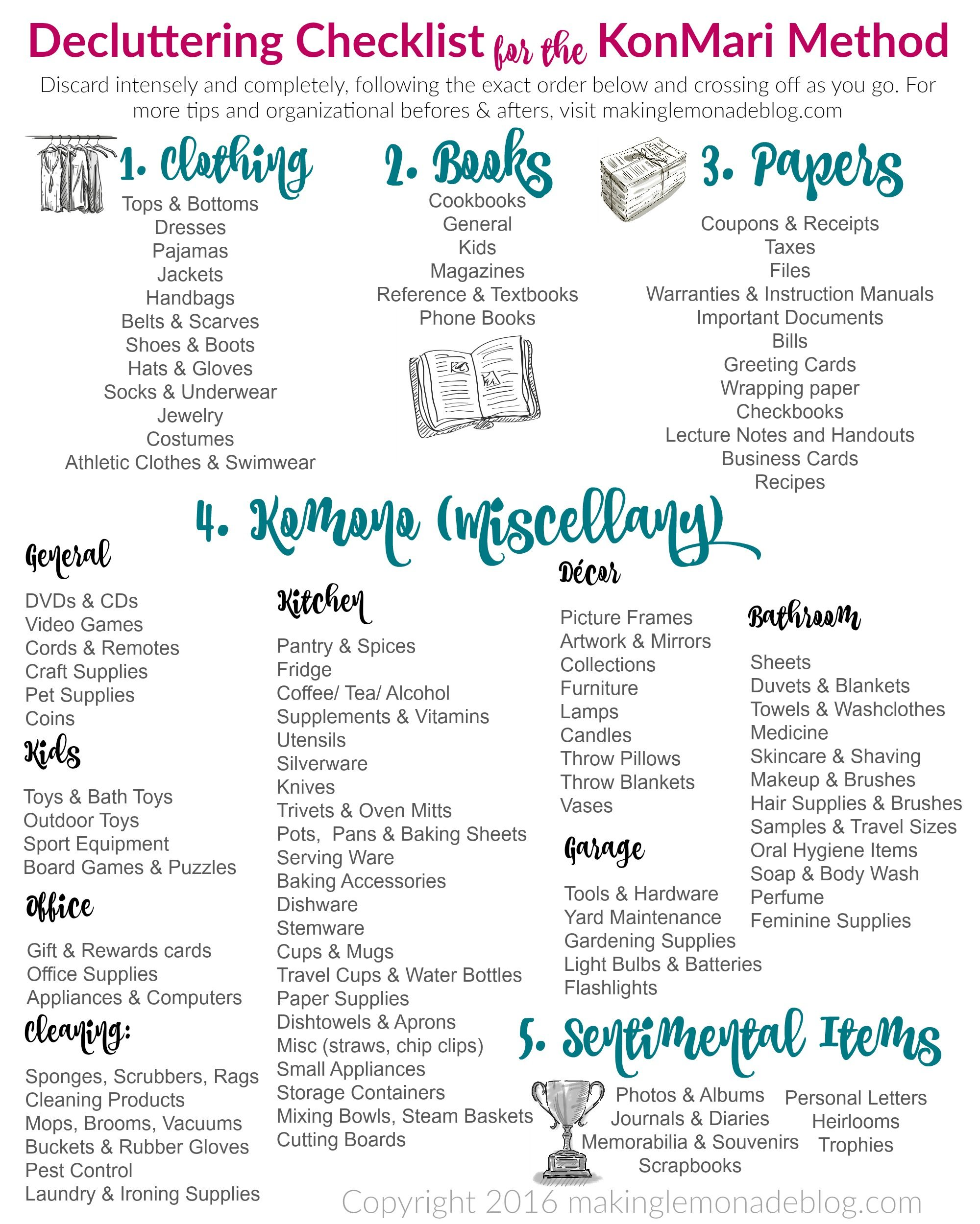 the ultimate free printable decluttering checklist for konmari success minimalismus. Black Bedroom Furniture Sets. Home Design Ideas