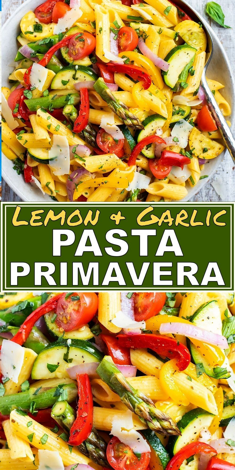 Primavera is a healthy, quick, and easy vegetable pasta recipe that is loaded with roasted asparagu