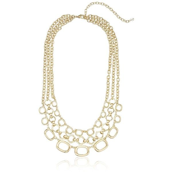 """Napier """"Golden Plaza"""" Gold-Tone 3 Row Necklace, 16"""" + 3"""" Extender (€32) ❤ liked on Polyvore featuring jewelry, necklaces, gold tone jewelry, gold colored necklace, napier, napier necklace and napier jewelry"""
