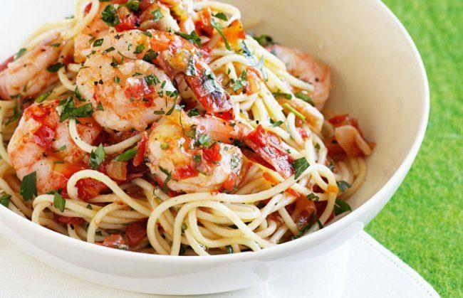 espaguetis con gambas y atun