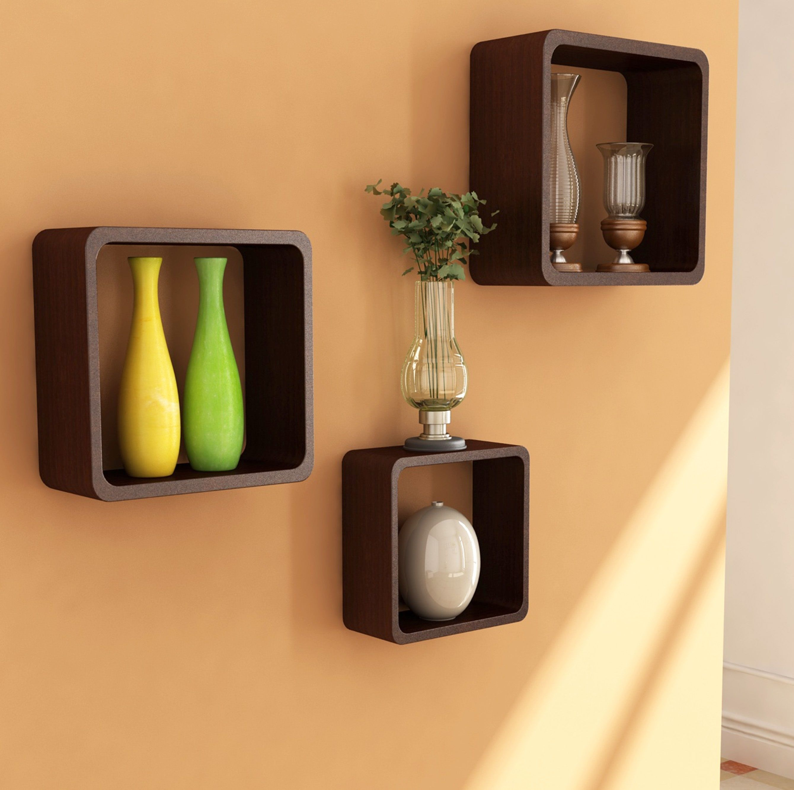 Decorative Wall Cubes Shelves Square Dark Brown Stayed Varnished