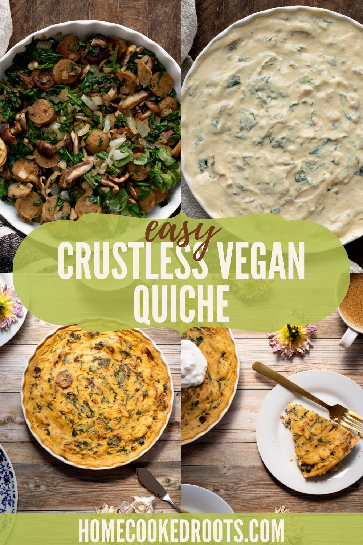 Crustless Vegan Quiche In 2020 Vegan Quiche Whole Food Recipes Vegan Recipes Easy