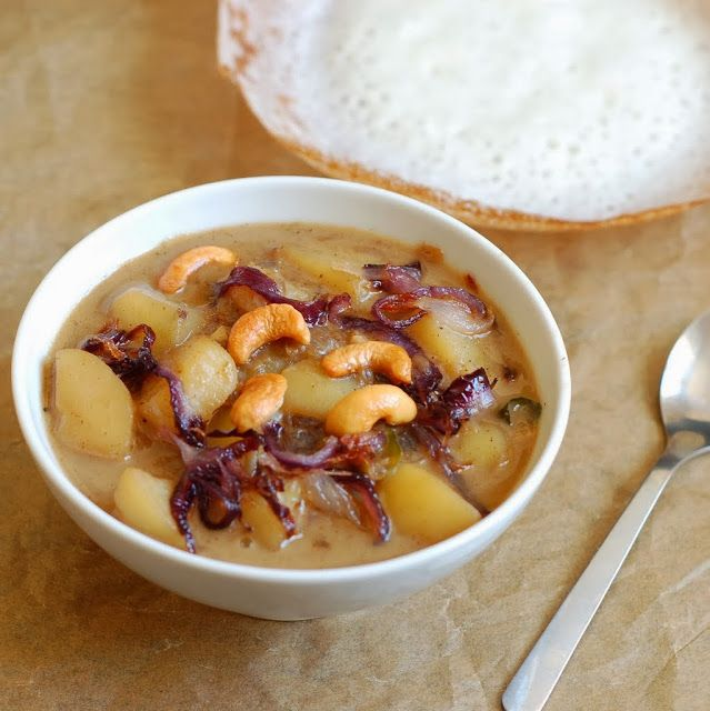 Roshni's Kitchen: Potato Stew - Vegan Recipe - Potatoes and Onions cooked with coconut milk and spices