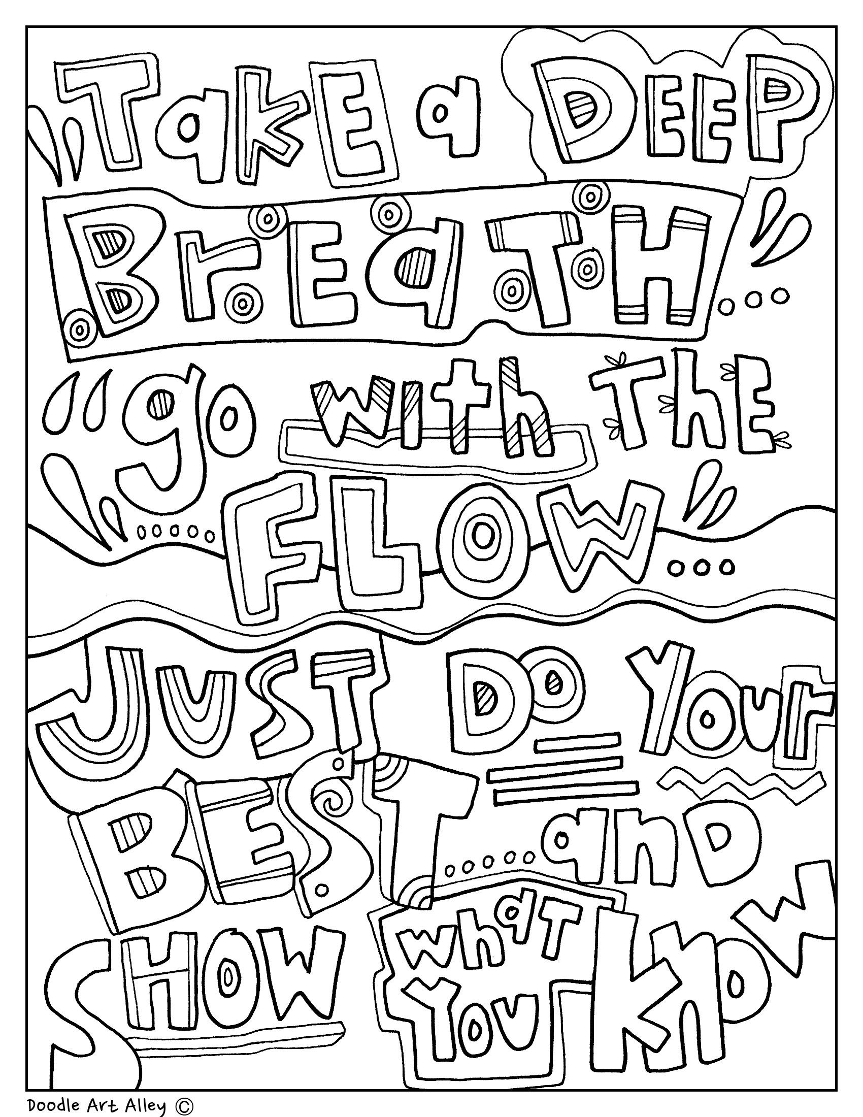 Testing Encouragement Coloring Pages. Classroom Doodles