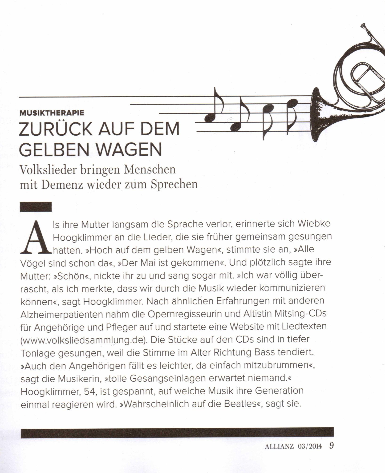 """""""Volkslieder bringen Menschen mit Demenz wieder zum Sprechen"""" - 1890 Das Allianz Magazin 03/2014"""