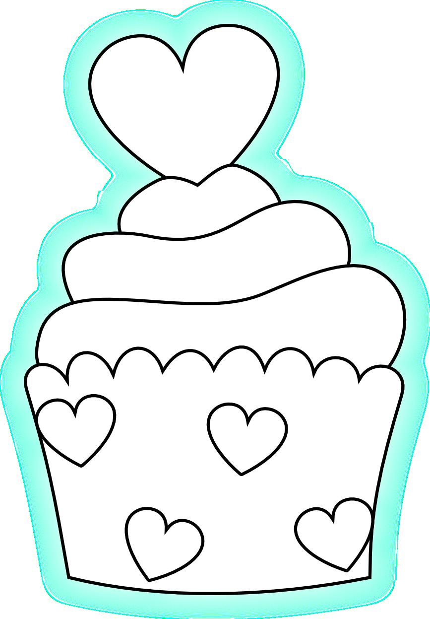 Cupcake drawing Digi stamp Applique templates