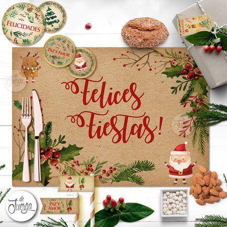 Kit Navidad imprimible Simil papel Kraft. Santa Claus. Año nuevo 2020 imprimible Super Completo