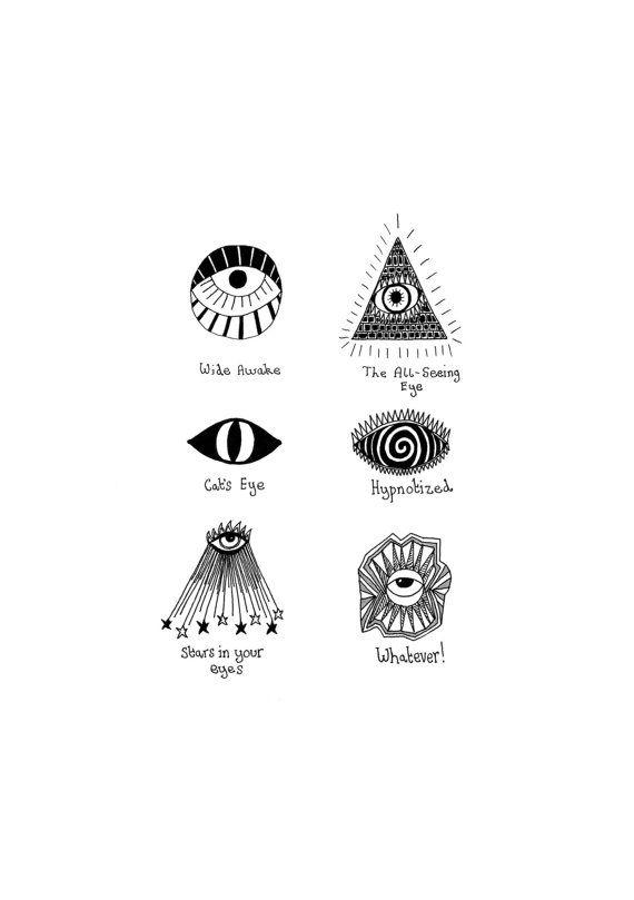 Evil Eyes A5 Print by annarack on Etsy, £6.00 | licktang | Tetoválás ...