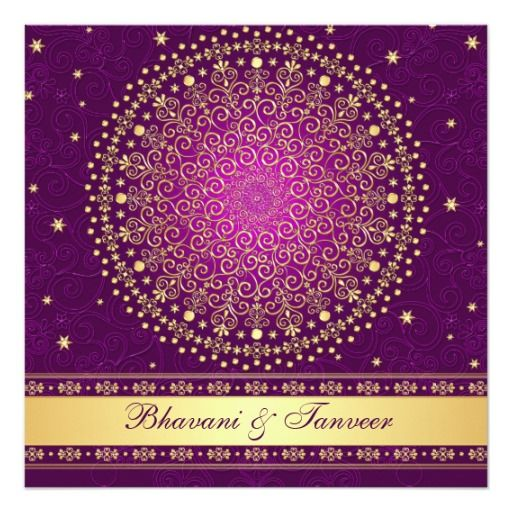 "Intricate Purple Gold Scrolls Stars Wedding Invite 5.25"" Square Invitation Card"