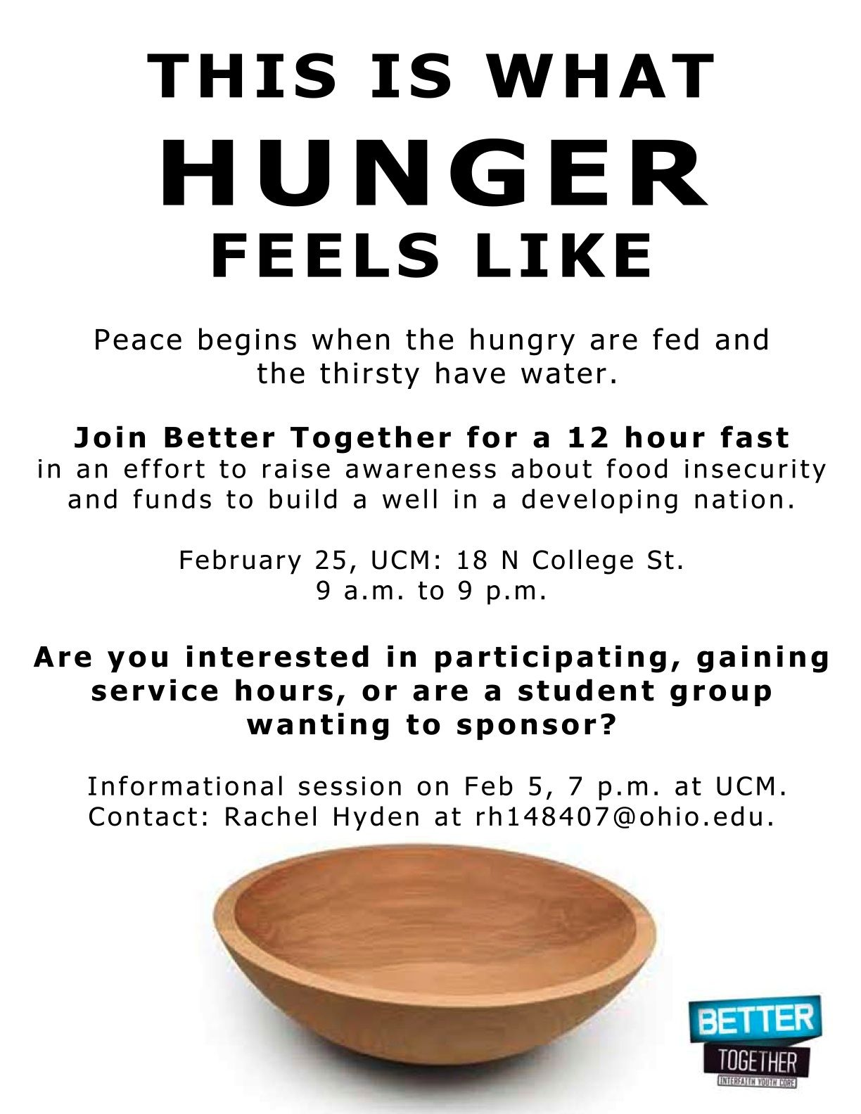 At Better Together we believe peace begins when the hungry are fed and the thirsty have water, so we held a 12 hour fast to raise awareness about food insecurity in Appalachia and funds for our well project. We collected 400 dollars in donations that day! Committee member Allison wrote a Letter to the Editor-- http://www.athensnews.com/ohio/article-36167-event-saturday-will-highlight-issue-of-local-food-insecurity, and a story was written in the local Speakeasy Magazine…