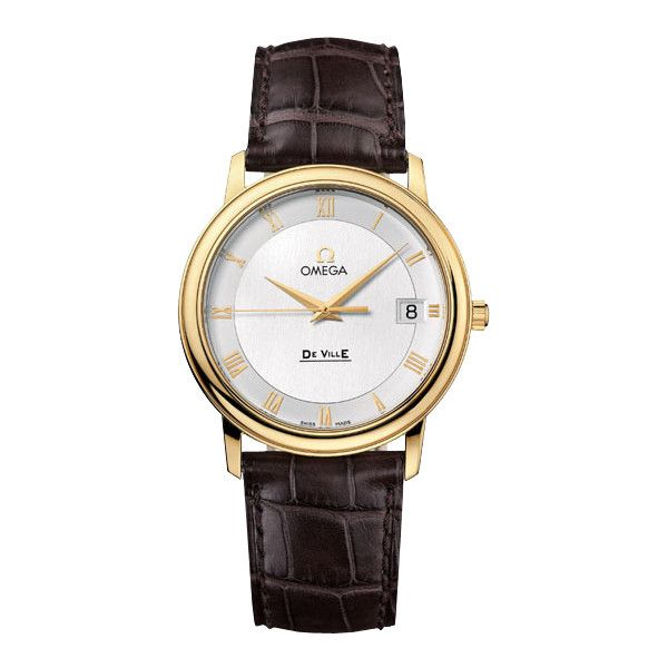 Omega DeVille Prestige Silver Dial 18kt Yellow Gold Brown Leather... (92.360 CZK) ❤ liked on Polyvore featuring jewelry, watches, leather wrist watch, omega watches, analog wrist watch, brown watches and leather watches