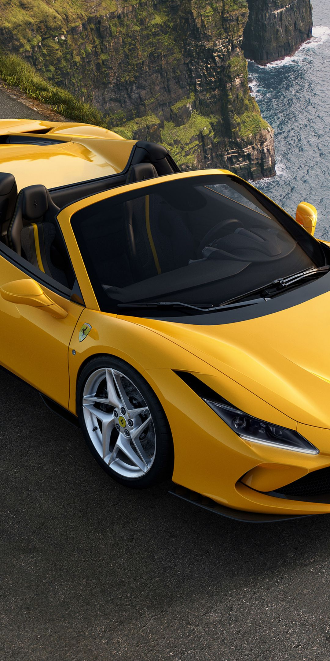 1080x2160 Off Road Yellow Car 2019 Ferrari F8 Spider Wallpaper