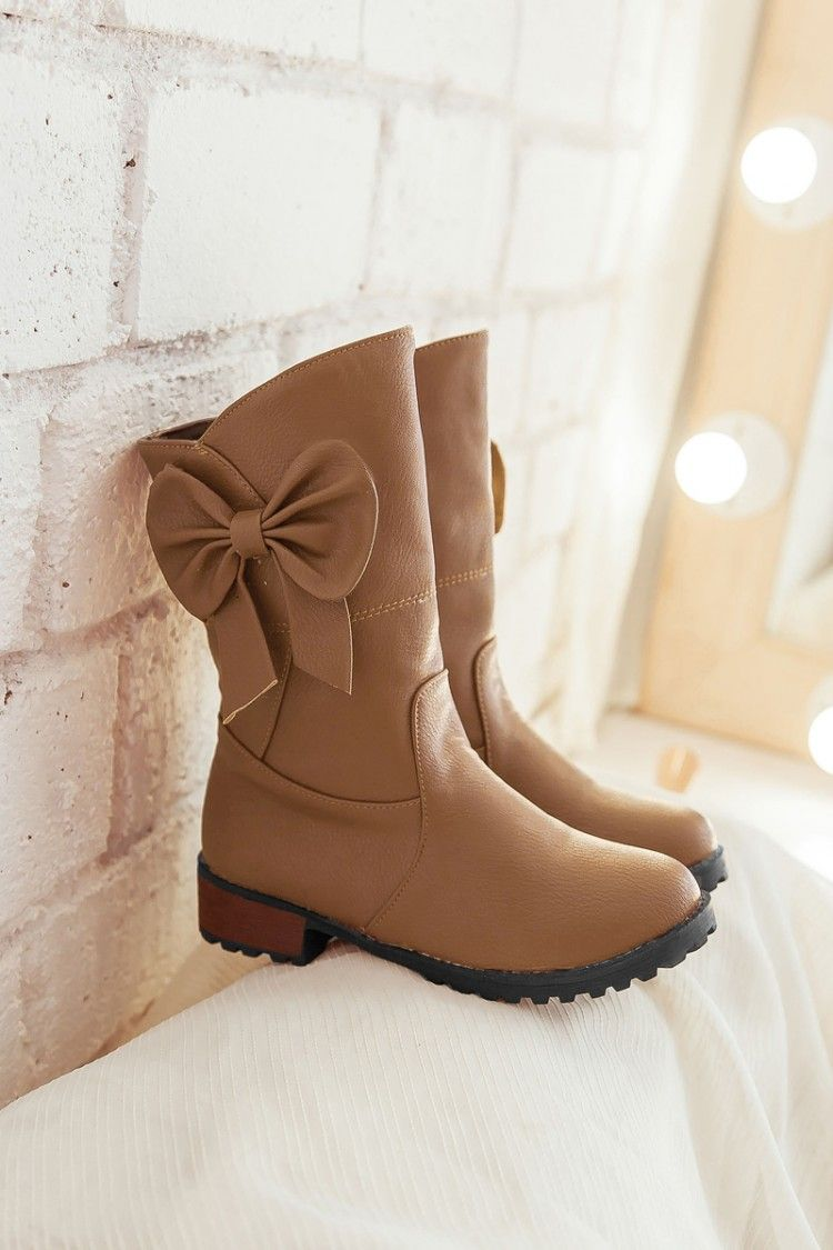 0678d43c420d FREE SHIPPING Fall  Winter 2016 Cute Bow Brown Boots on Luulla