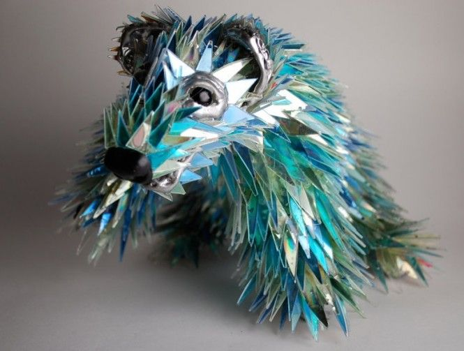 By sean e avery sculptures using shattered cd fragments