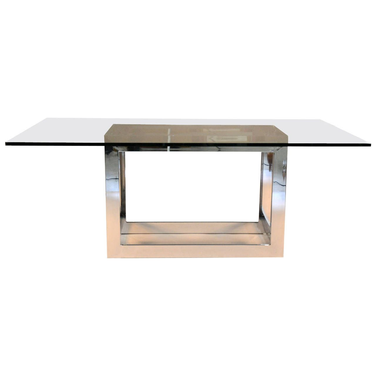 Milo Baughman For Thayer Coggin Chrome And Glass Dining Table