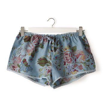 Shorts Cotone e Seta Blu
