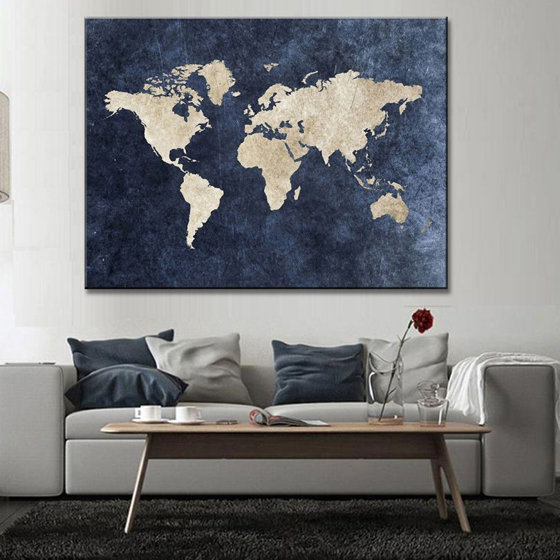 Abstract blue world map canvas print large modern global map abstract blue world map canvas print large modern global map painting wall art home garden home dcor posters prints ebay gumiabroncs Images