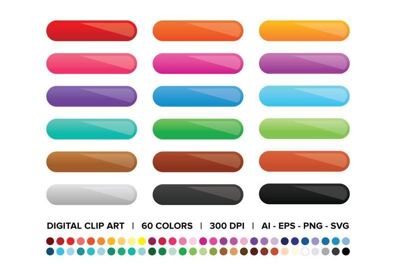 Gradient Web Button Clip Art Set Png Svg Vector Ombre Etsy Clip Art Creative Poster Design Art Set